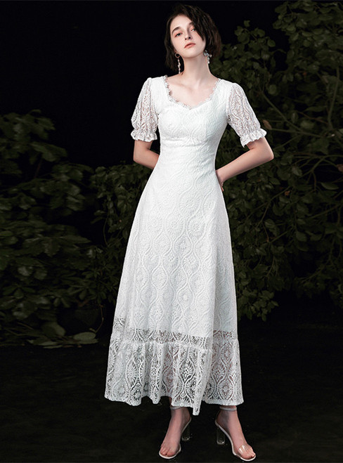 A-Line White Lace Short Sleeve Wedding Dress