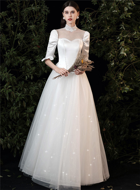 White Tulle Satin Short Sleeve High Neck Wedding Dress
