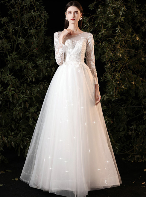 White Tulle Sequins Appliques Long Sleeve Wedding Dress