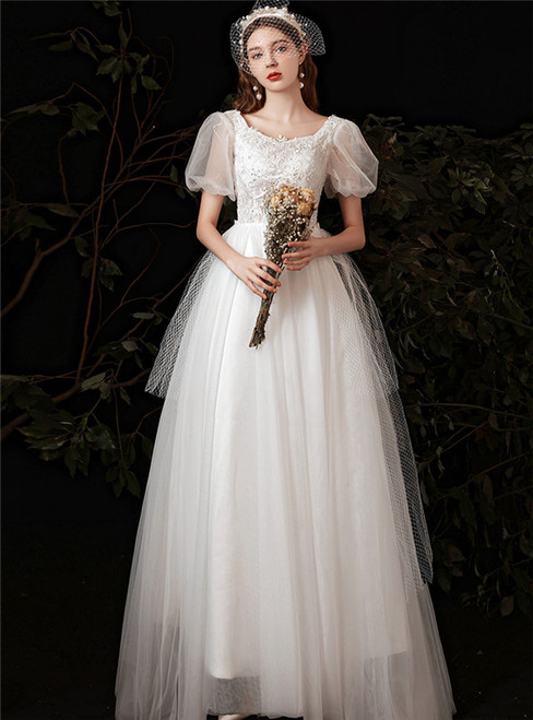 White Tulle Appliques Square Short Sleeve Wedding Dress
