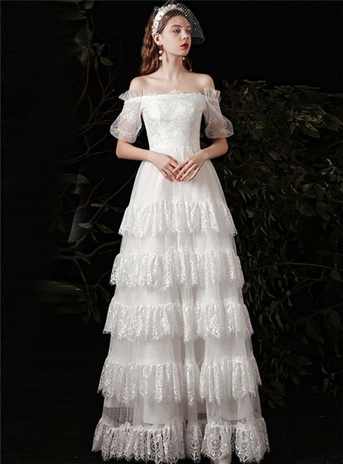 White Tulle Lace Tiers Off the Shoulder Short Sleeve Wedding Dress