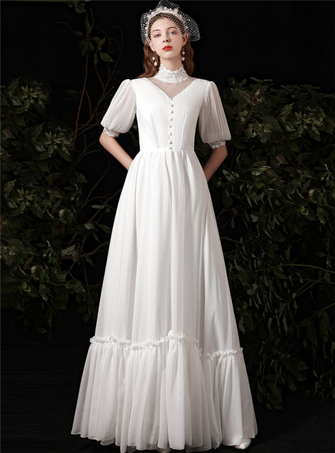 White Chiffon Short Sleeve Button Wedding Dress