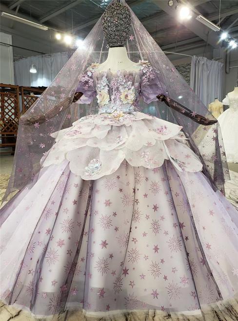 Purple Tulle Sequins Short Sleeve Appliques Flower Girl Dress