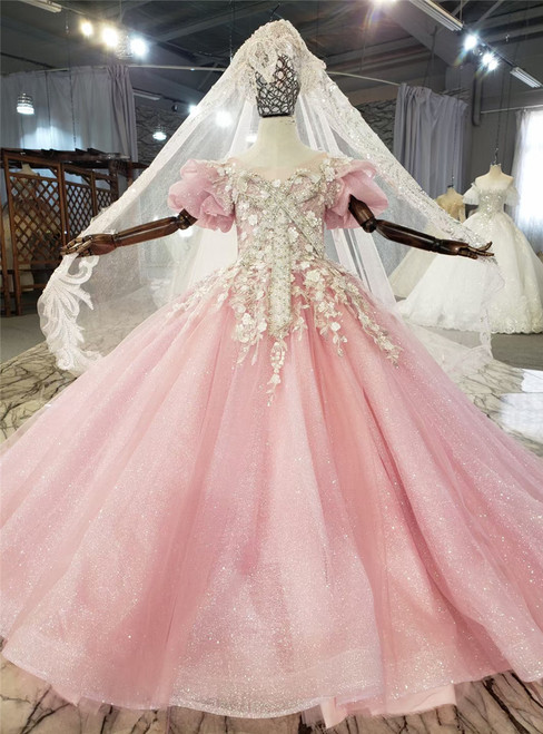 Pink Tulle Sequins Appliques Beading Flower Girl Dress