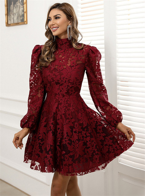 In Stock:Ship in 48 Hours Burgundy Lace Long Sleeve Party Dress