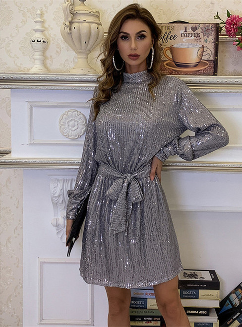 In Stock:Ship in 48 Hours Silver Sequins Short Party Dress