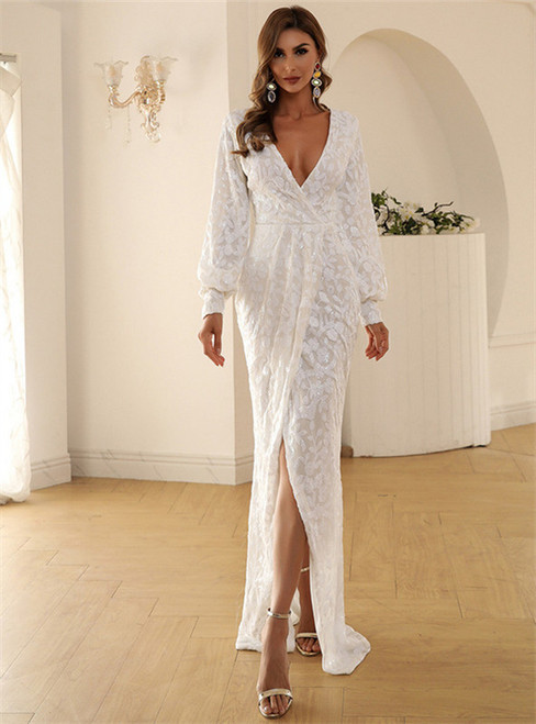 In Stock:Ship in 48 Hours White Sequins Deep V-neck Long Sleeve Party Dress