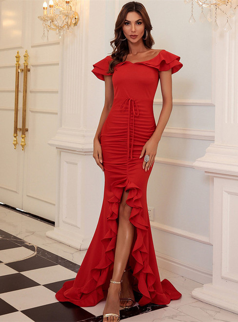 In Stock:Ship in 48 Hours Red Off the Shoulder Lotus Leaf Drawstring Party Dress