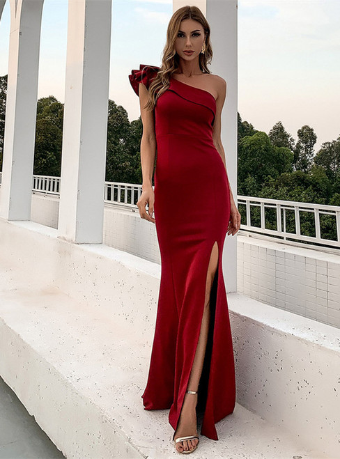 In Stock:Ship in 48 Hours Burgundy One Shoulder Party Dress