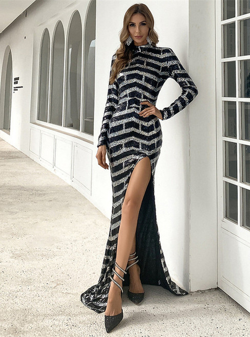 In Stock:Ship in 48 Hours Black Stripe Sequins Party Dress With Split