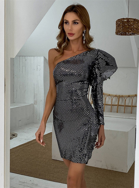 In Stock:Ship in 48 Hours Silver Gray Sequins One Shoulder Party Dress