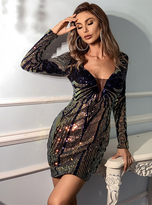 In Stock:Ship in 48 Hours Geometric Figure Sequins Party Dress