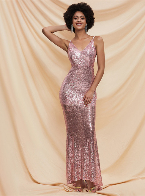 In Stock:Ship in 48 Hours Pink Sequins Spaghetti Straps Backless Party Dress