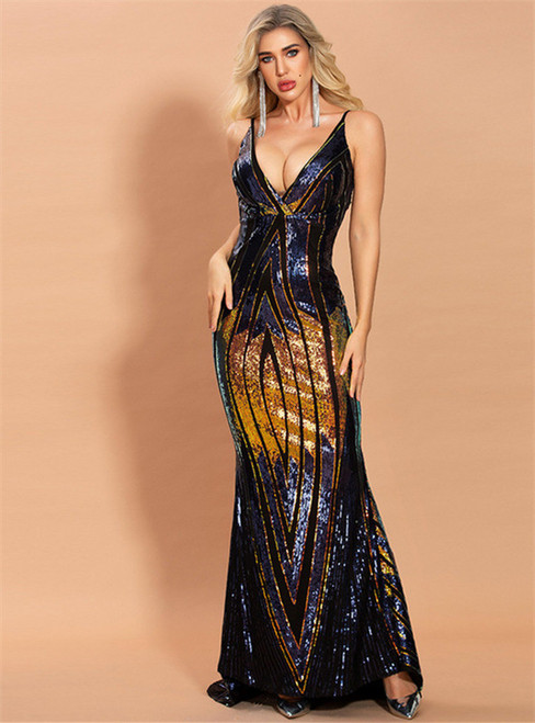 In Stock:Ship in 48 Hours Multicolour Sequins Party Dress