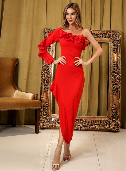 In Stock:Ship in 48 Hours Red One Shoulder Party Dress