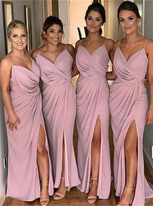 Pink Chiffon Spaghetti Straps Pleats Bridesmaid Dresses