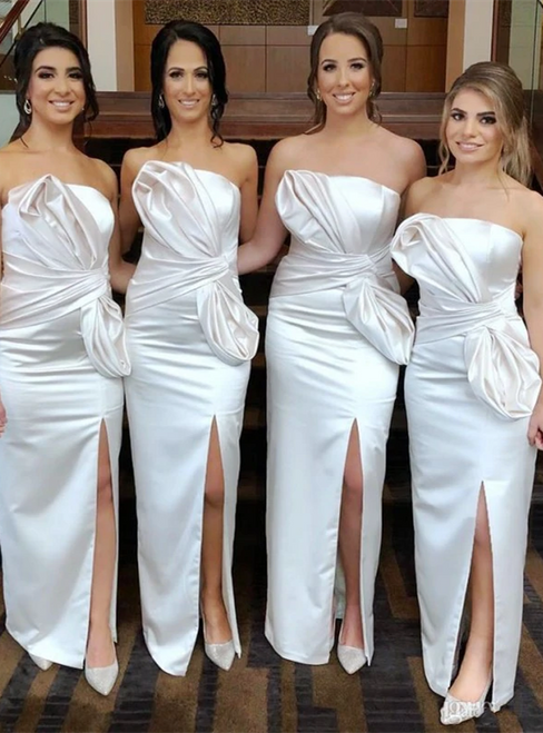 White Sheath Satin Strapless Pleats Front Split Bridesmaid Dress