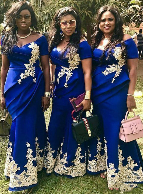 Royal Blue Satin Mermaid Lace Appliques Off the Shoulder Bridesmaid Dresses