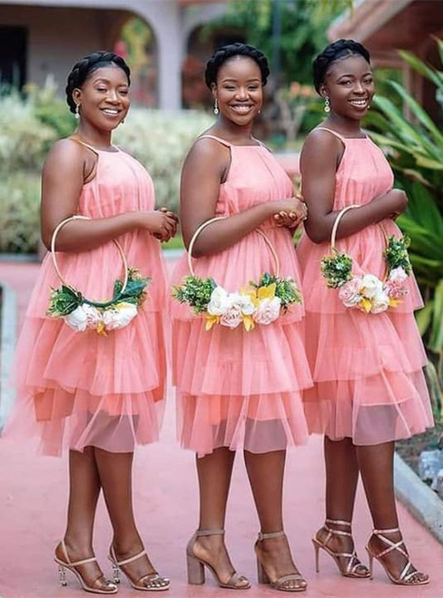 Pink Tulle Spaghetti Straps Tiers Bridesmaid Dress