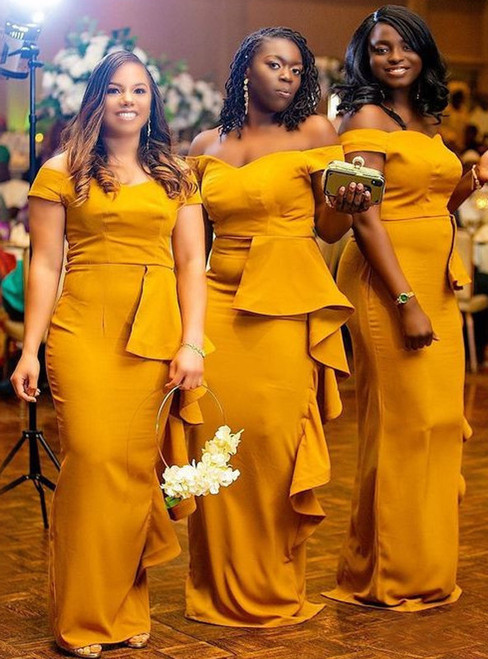 Yellow Mermaid Satin Off the Shoulder Long Bridesmaid Dress