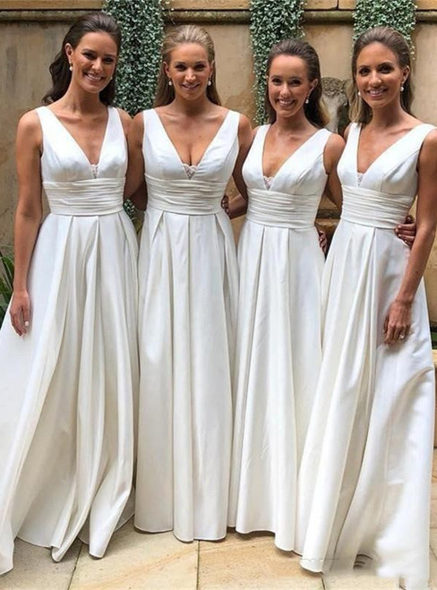 White Satin Deep V-neck Floor Length Pleats Bridesmaid Dress