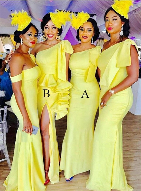 Yellow Mermaid Satin One Shoulder Ruffles Bridesmaid Dress