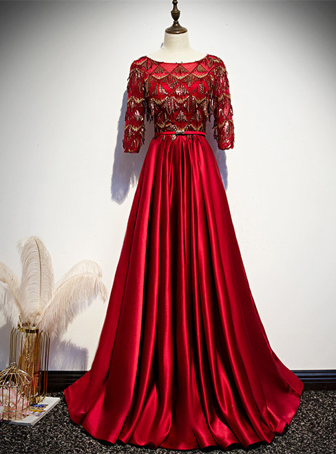 Burgundy Satin Sequins Short Sleeve Prom Dress
