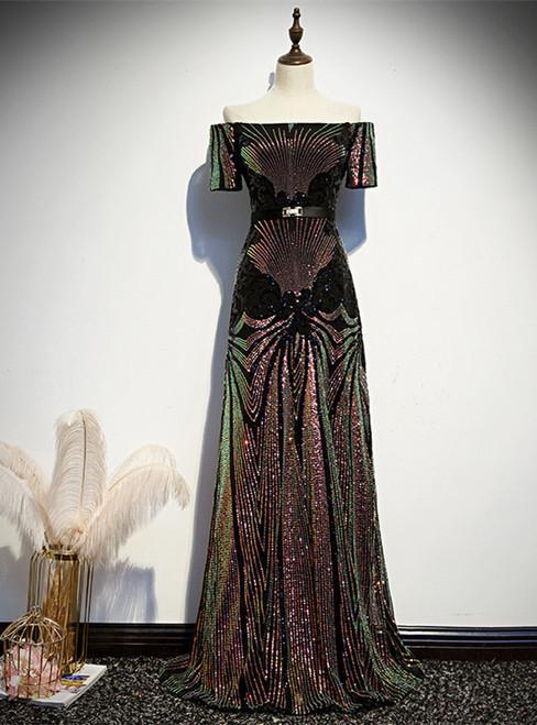 Black Sequins Off the Shoulder Short Sleeve Prom Dress