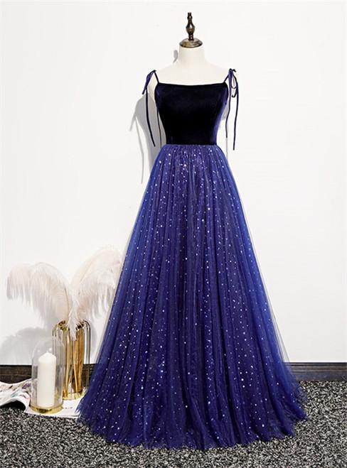Blue Tulle Velvet Star Sequins Spaghetti Straps Prom Dress