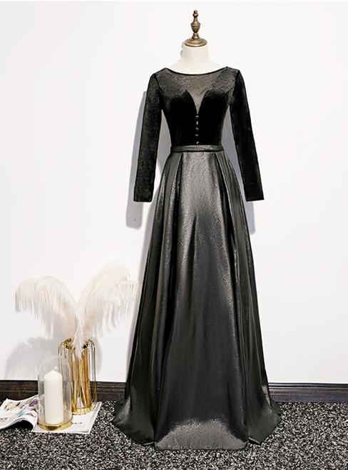 Black Satin Velvet Long Sleeve Button Prom Dress