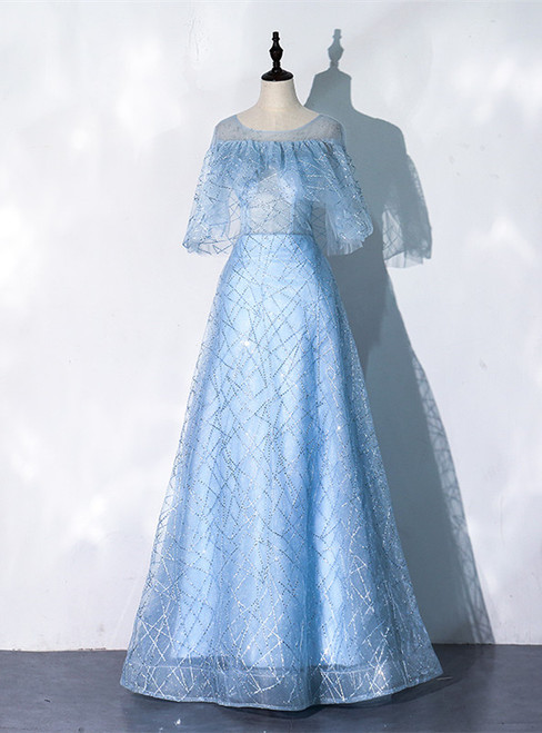 A-Line Blue Tulle Sequins Bat Sleeve Prom Dress