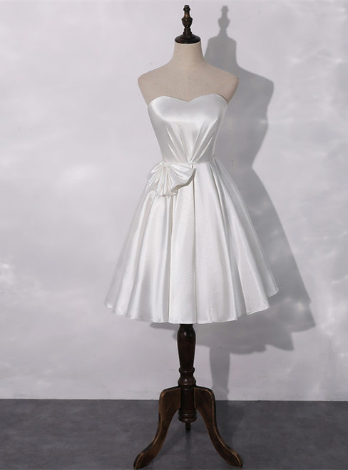A-Line White Satin Sweetheart Pleats Homecoming Dress