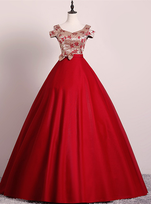 Red Bal Gown Satin Embroidery Quinceanera Dress