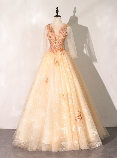 Champagne Tulle Long Sleeve Appliques Beading Quinceanera Dress