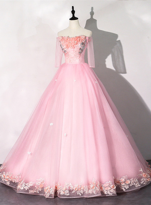 Pink Tulle Off the Shoulder Appliques Quinceanera Dress