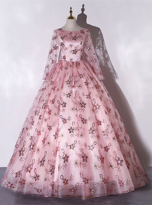 Pink Tulle Sequins Long Sleeve Quinceanera Dress