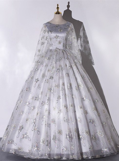 Gray Tulle Sequins Long Sleeve Quinceanera Dress