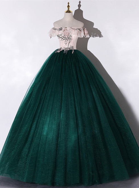 Green Tulle Off the Shoulder Appliques Quinceanera Dress