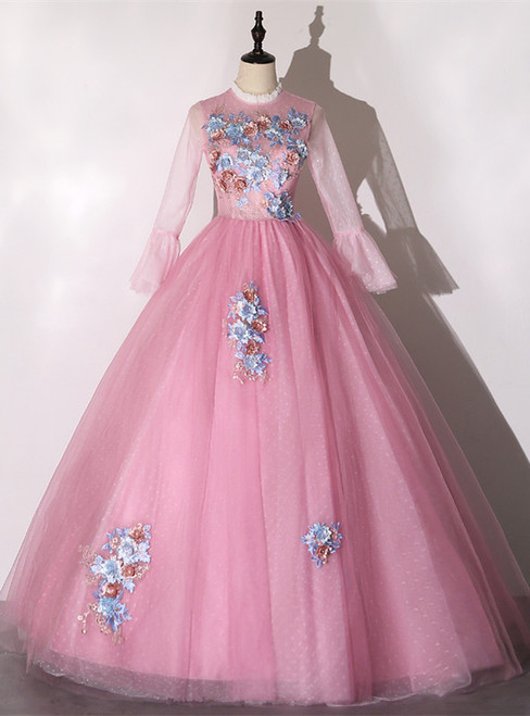 Pink Tulle Appliques Long Sleeve Quinceanera Dress