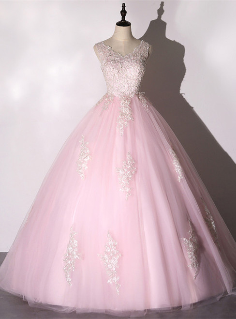 Pink Tulle Lace Appliques V-neck Backless Quinceanera Dress