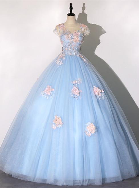 Blue Tulle Appliques Cap Sleeve Quinceanera Dress