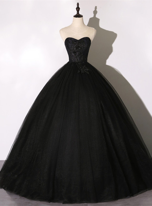 Black Tulle Lace Appliques Quinceanera Dress