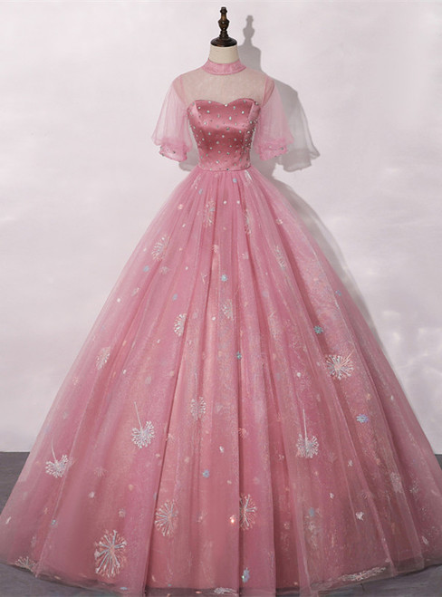 Pink Ball Gown Tulle Short Sleeve Beading Quinceanera Dress