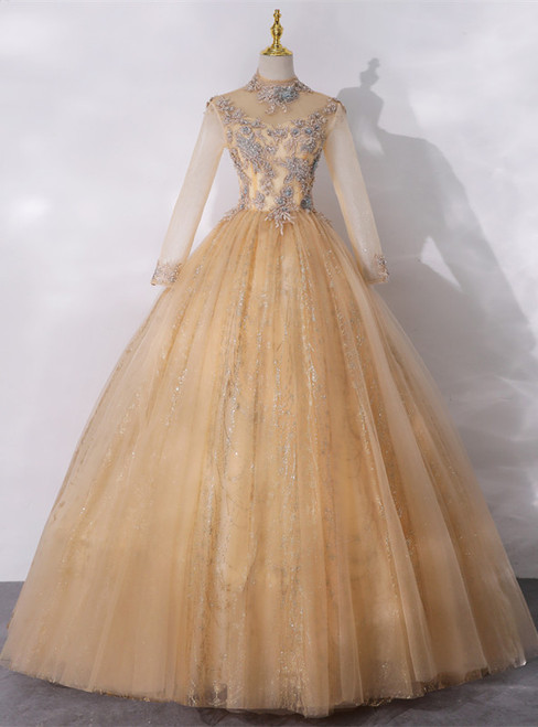 Gold Tulle High Neck Long Sleeve Backless Quinceanera Dress
