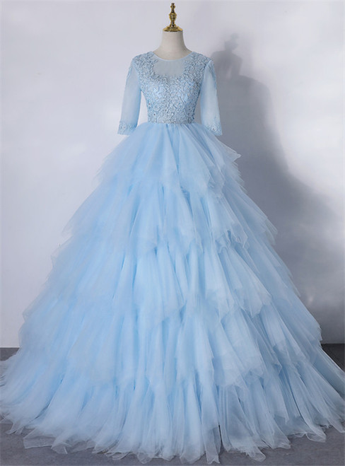 Blue Tulle Tulle Short Sleeve Appliques Quinceanera Dress