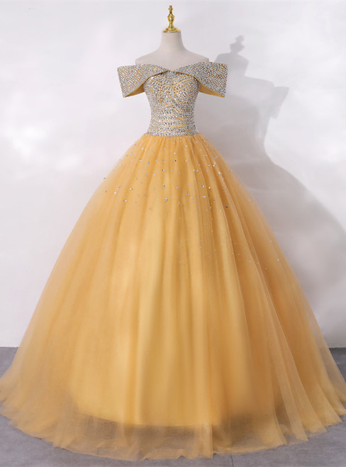 Gold Tulle Off the Shoulder Beading Quinceanera Dress