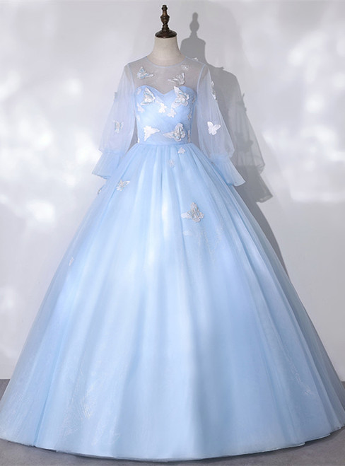 Sky Blue Tulle Long Sleeve Butterfly Quinceanera Dress