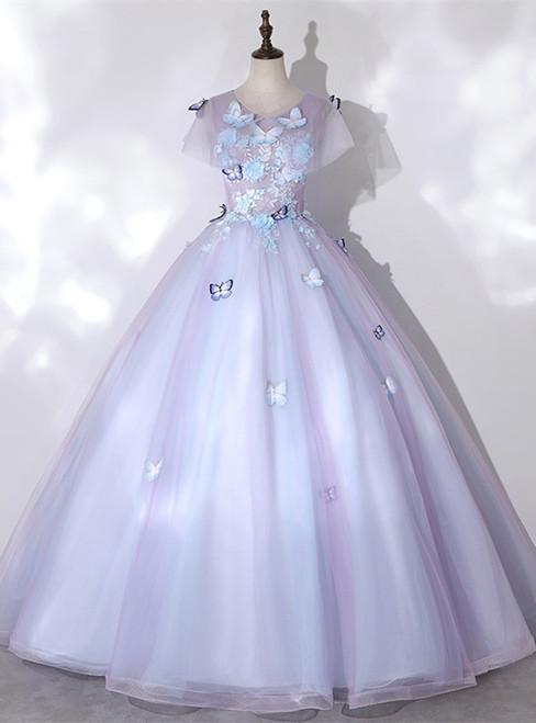 Violet Tulle Short Sleeve Appliques Quinceanera Dress