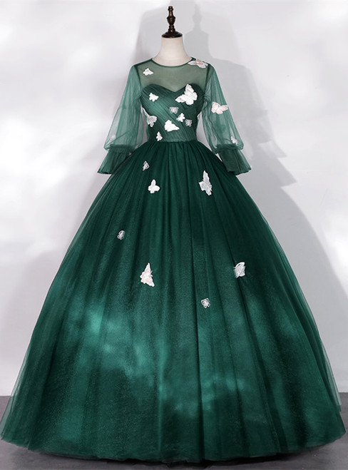 Dark Green Tulle Butterfly Appliques Bell Sleeve Quinceanera Dress