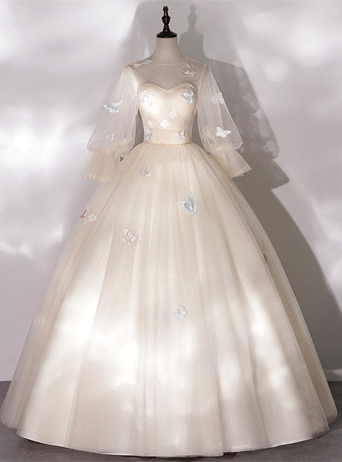 Champagne Tulle Butterfly Appliques Bell Sleeve Quinceanera Dress